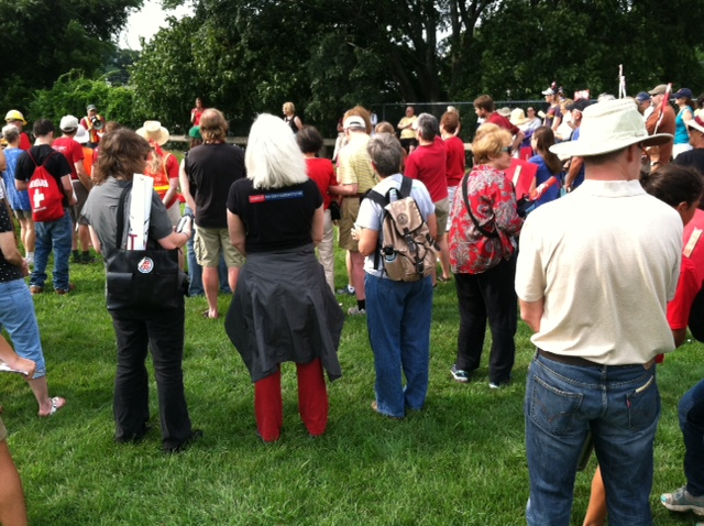 People standing in Gonzalez field on July 26, 2015